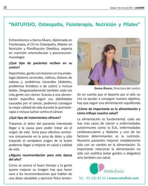 Osteopata fisioterapeuta Gema Álvaro en La Razón